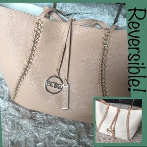 *REVERSIBLE* BCBG Beige & White Chain Tote. *As is